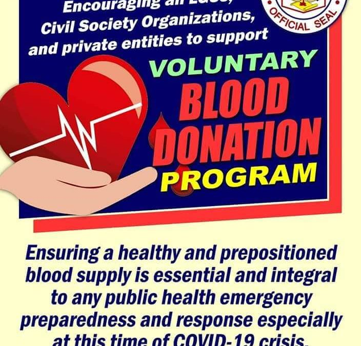 MEMORANDUM 002-2020: Encouraging all LGUs, Civil Society Organization, and private entities to support voluntary Blood Donation Program.