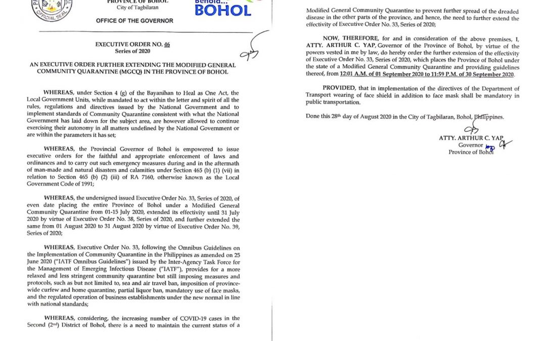 E. O. 46: An Executive Order further extending the Modified General Community Quarantine (MGCQ) in the province of Bohol.