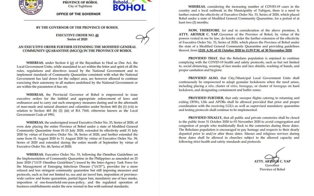 E. O. 48: An Executive Order further extending the Modified General Community Quarantine (MGCQ) in the province of Bohol.